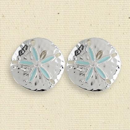 Hammered Silver & Aqua Sand Dollar Clip Earrings
