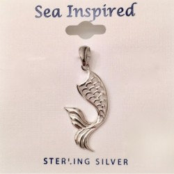 Mermaid Tail Pendant with Bail - Sterling Silver