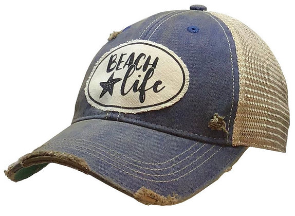 Beach Life Distressed Trucker Cap