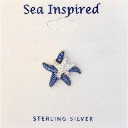 Blue & White Double CZ Starfish Pendant
