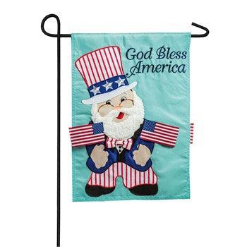 Uncle Sam Gnome Applique Garden Flag
