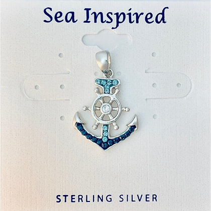 Anchor Ship Wheel Pendant Swarovski Crystals