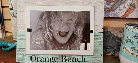 Reclaimed Wood Teal Orange Beach Photo Frame