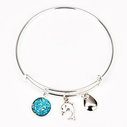 Turquoise Button, Dolphin and Silver Lure Bracelet