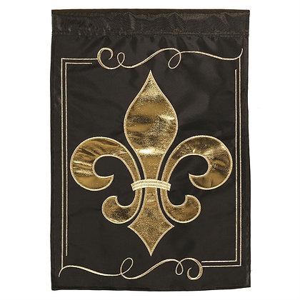 Fleur De Lis Black and Gold Large Flag