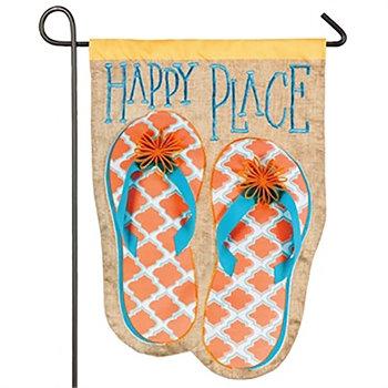 Happy Place Flip Flop Suede Garden Flag