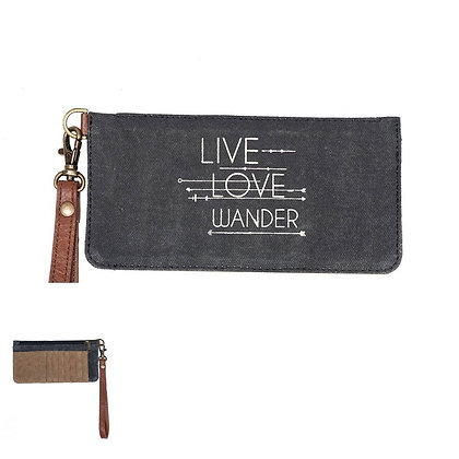Live Love Wander Re-Cycled Credit Card Wristlet