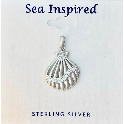 Scallop Shell Pendent with White CZ
