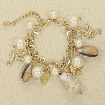 Gold Pear and Shells Charm Bracelet with Sea Horse