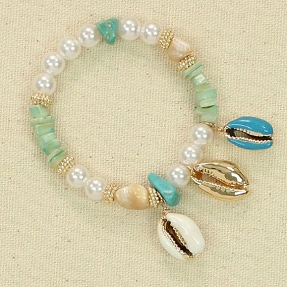 Gold, Blue and White Pear Shell Bracelet with Shell Charm