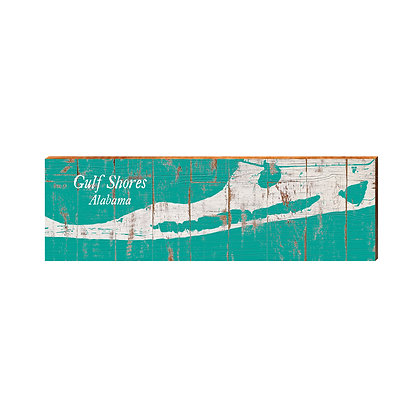 Gulf Shores Shabby Teal Small Map