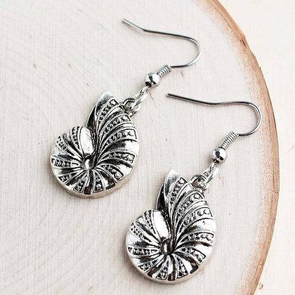 Silver Conch Shel Alloy Earrings