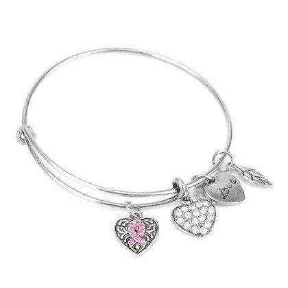 Pink Ribbon Charm Bangle Bracelet