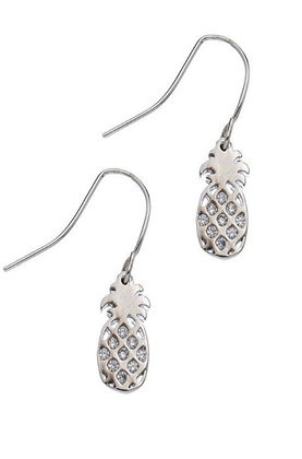Silver Pineapple Crystal Earrings