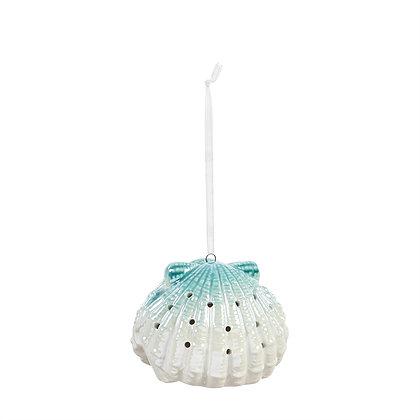 LED Fan Shell Porcelain Ornament