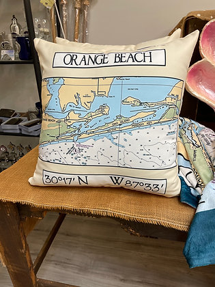 Orange Beach Chart Map Pillow 18 x 18