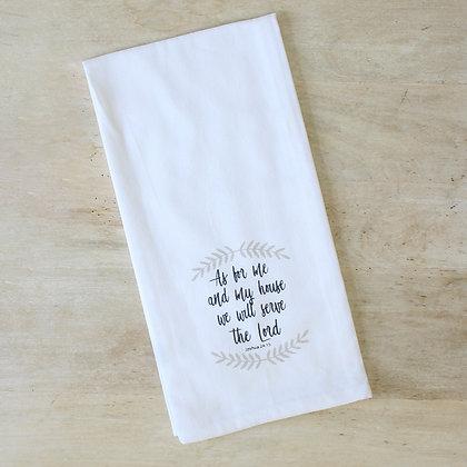 Joshua 24:15 Hand Towel White/Taupe/Black 20x28