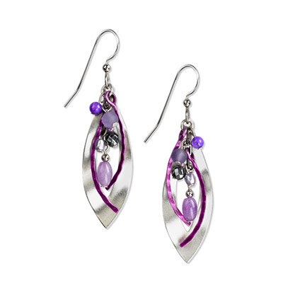 Silver with Multicolored Beads Drop Earrings