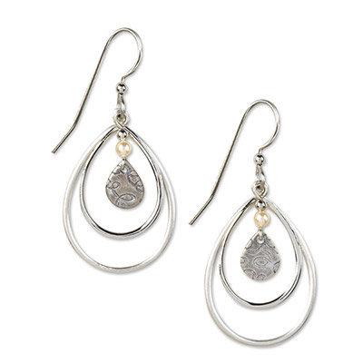 Silver Triple Teardrop Earrings with Pearls