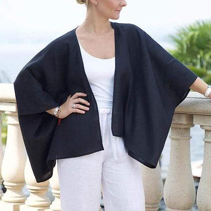 Black Iris Linen Kimono