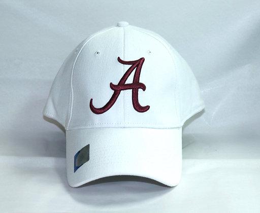 White Alabama Baseball Cap with Script A