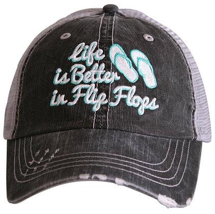 Life is better in flip flops hat