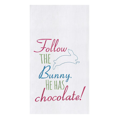 Follow the Easter Bunny Embroidered Flour Towel