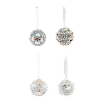 Seashell Ball Ornaments - set of 4