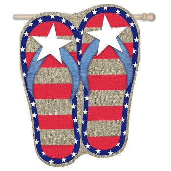 House Burlap Patriotic Flip-Flop Flag 28x44