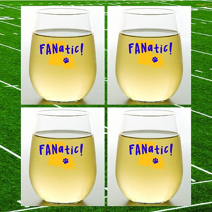 LSU Fantastic Shatterproof Wine Glass - set of 2