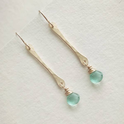 Stick Earrings - Sea Glass Quartz - Geometric Collection