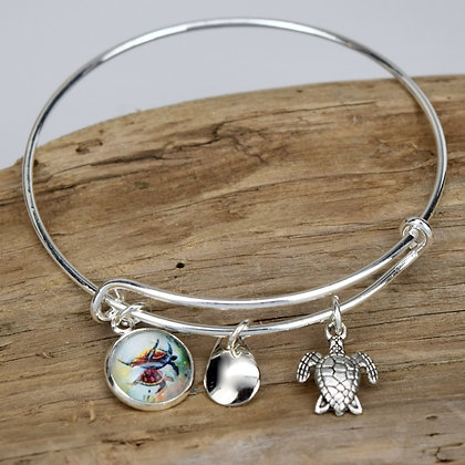Turtle Button Bracelet with Turtle Bangle