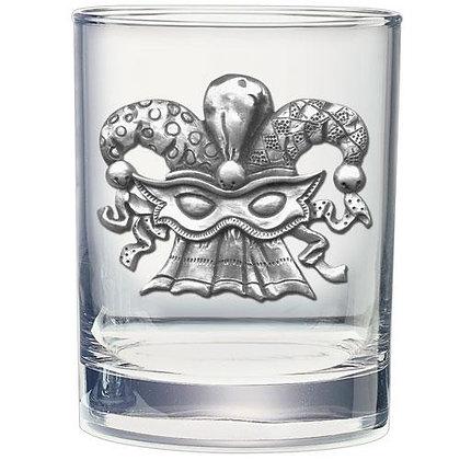 Mardi Gras Mask Double Old Fashion Glass -copyright