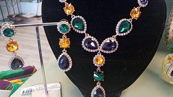 Mardi Grad Stone Nevklace and Earring Set