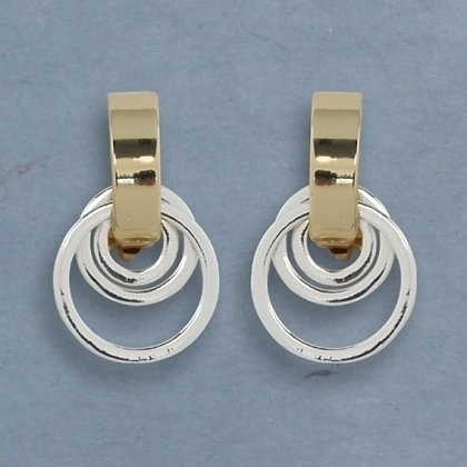 Silver and Gold Two-Tone Clip Earrings