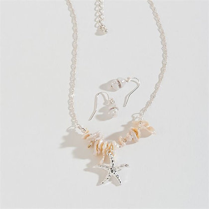 Starfish Charm Silver Necklace Set