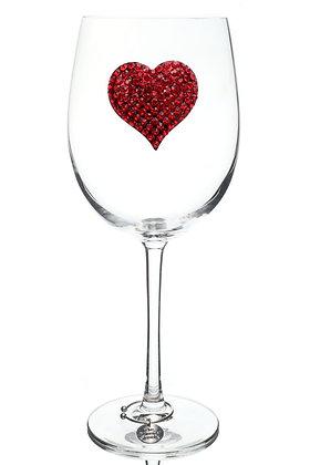 Red Heart Jeweled Wine Glass
