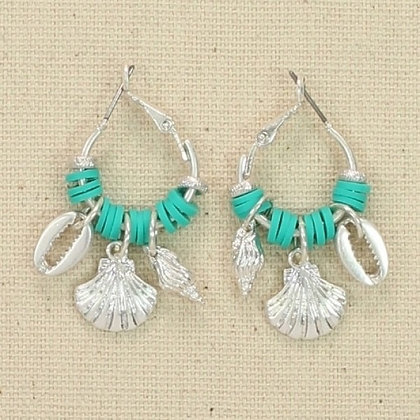 Small Hoop Earrings with Turquoise Beads and Sea Life Charms