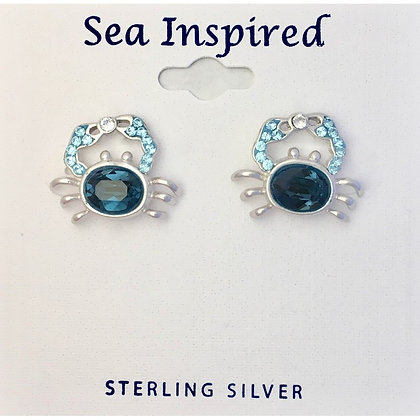 Blue Crab Post Earrings Swarovski Crystals