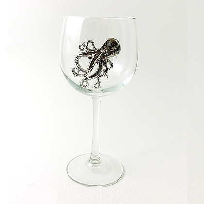 Octopus Red Wine Goblet cooyright by Maurice Milleur