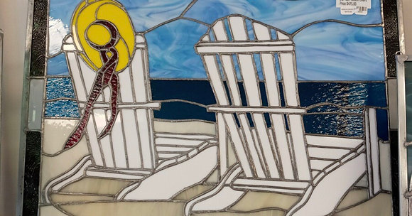 Beach Chairs Stained Glass