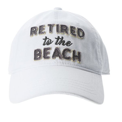 Retired to the Beach - White Adjustable Baseball Cap