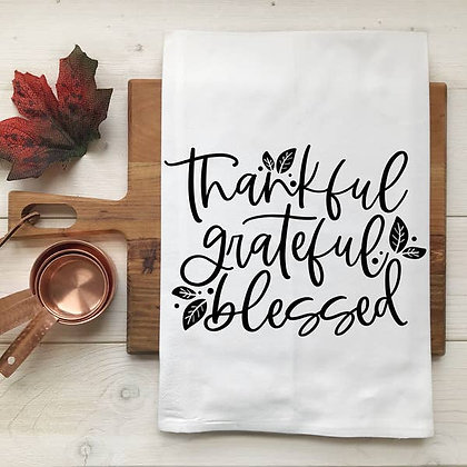 Thankful Grateful Blessed Kitchen Towel