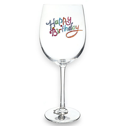 Happy Birthday Stemmed Jeweled Wine Glass