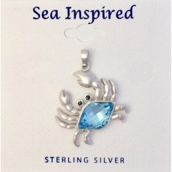 Crab Pendant with Blue Crystal Swarovski - Sterling Silver