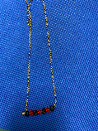 Beaded Bar Necklace Black & Red