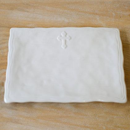 Cross Platter Antique White 11.5x8.5