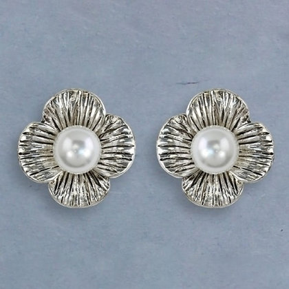 Flower with Pearl Clip Earrings