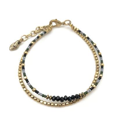 Sachi Black & Gold Beaded Bracelet