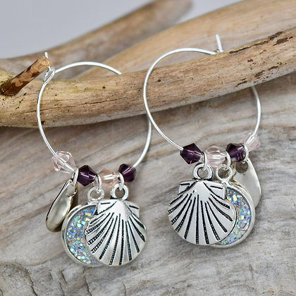 Hoop Earrings with White Button and Sea Shell